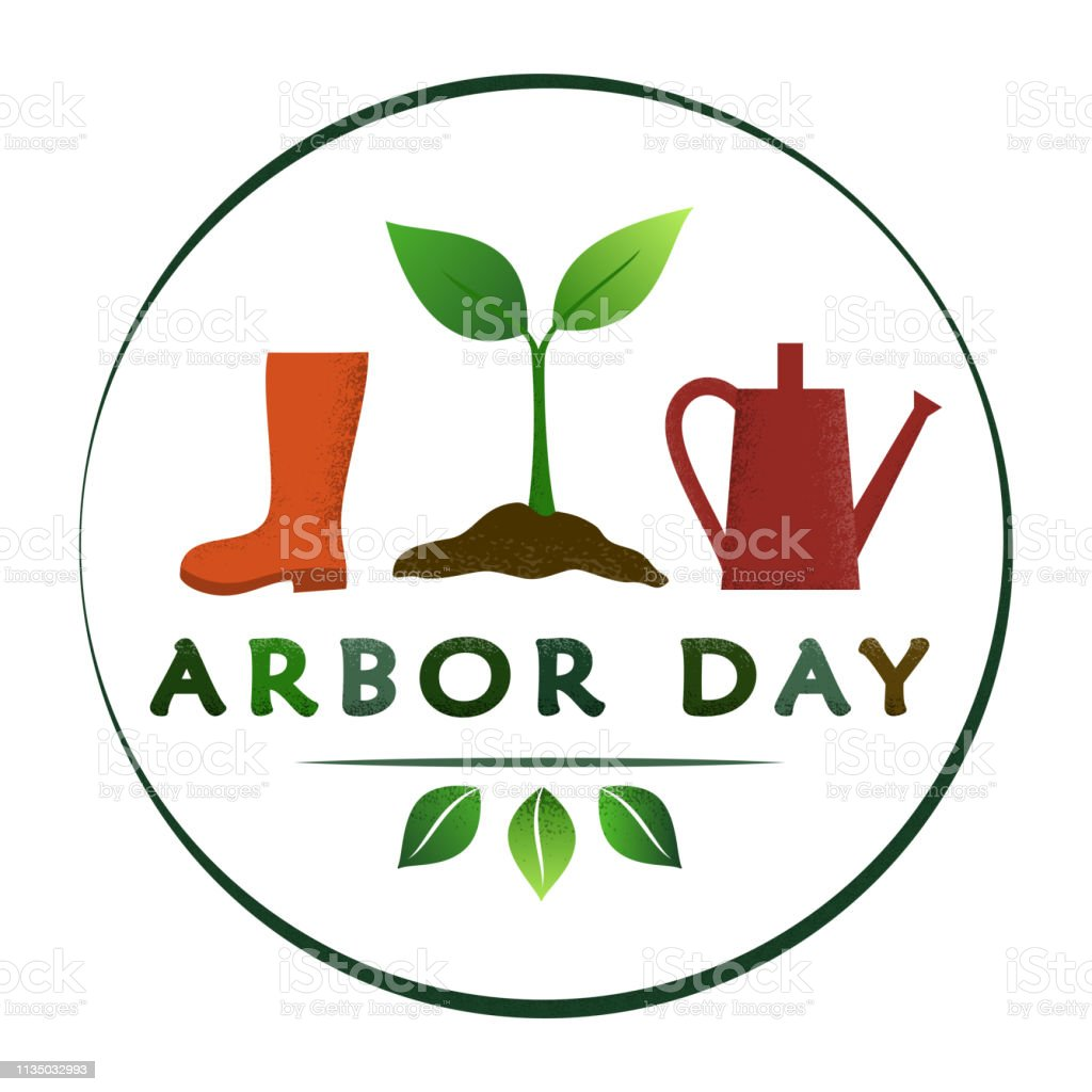 National Arbor Day - creative concept with sprout in circle. Semi...