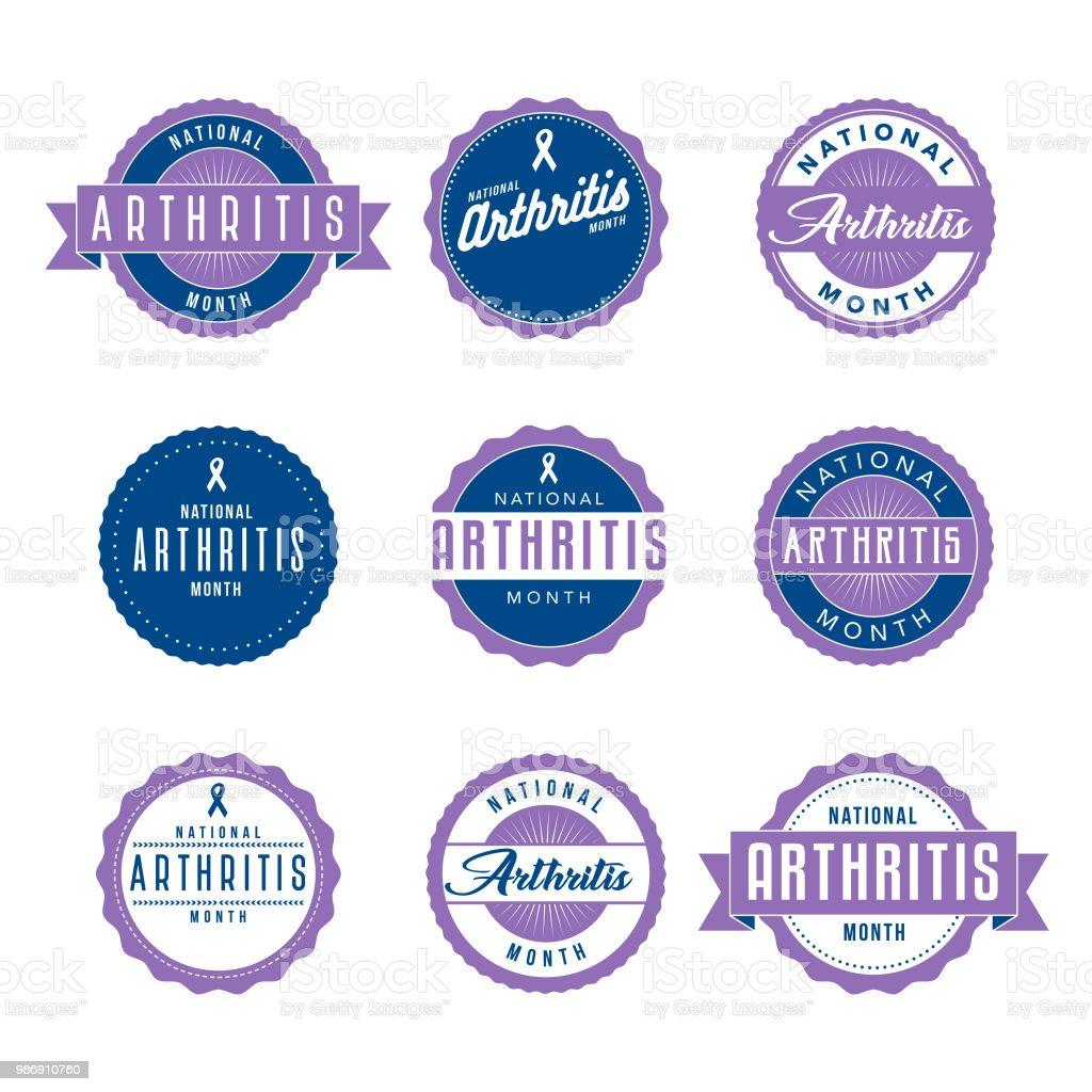 National Arthritis Month Icon Set vector art illustration