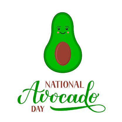 National Avocado Day calligraphy lettering with cute cartoon character isolated on white. Funny American holiday celebrate July 31. Vector template for poster, sticker, banner, sticker, t-shirt, etc.