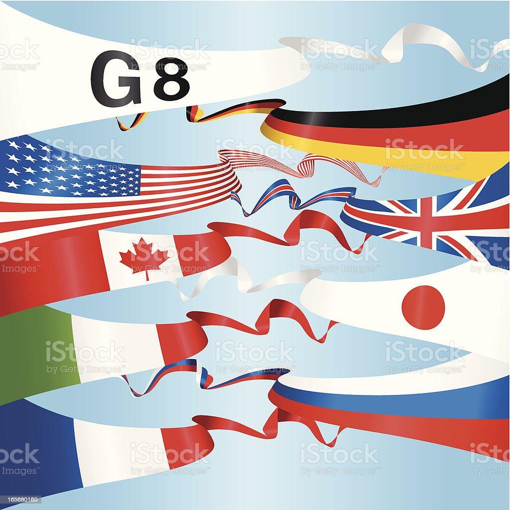 G8 National Banners vector art illustration