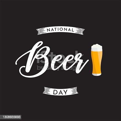 istock National Beer Day card with beer mug. Vector 1308655693