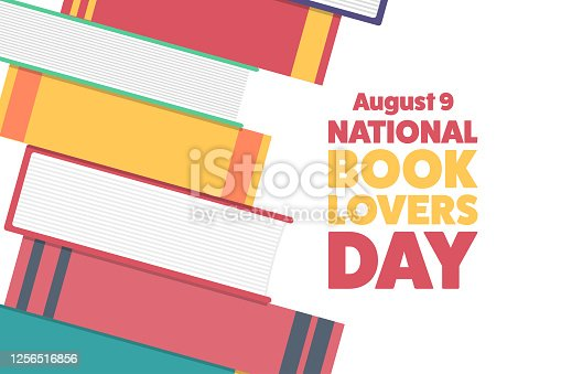 National Book Lovers Day. August 9. Holiday concept. Template for background, banner, card, poster with text inscription. Vector EPS10 illustration