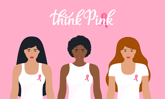 National Breast Cancer Awareness Month. A group of women of different nationalities in t-shirt with a pink ribbon.