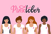 National Breast Cancer Awareness Month. Pinktober hand drawn lettering. A group of women of different nationalities in a T-shirt with a pink ribbon.
