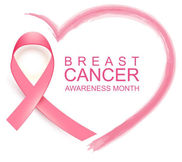 National breast cancer awareness month. Poster pink ribbon, text and heart shape National breast cancer awareness month. Poster pink ribbon, text and heart shape. Isolated on white vector illustration breast stock illustrations