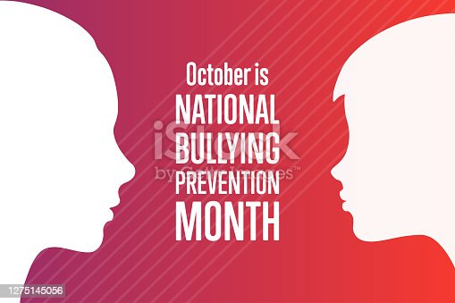 National Bullying Prevention Month. October. Holiday concept. Template for background, banner, card, poster with text inscription. Vector EPS10 illustration