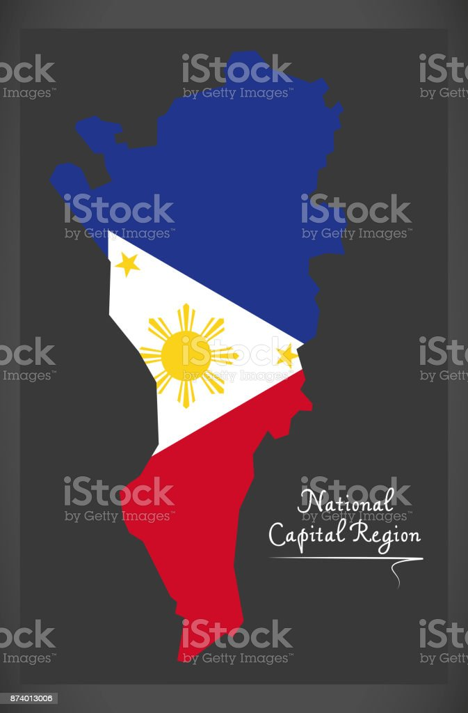 National Capital Region map of the Philippines with Philippine national flag illustration vector art illustration
