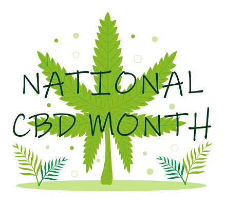 National CBD month concept vector for blog, web, banner. Event is celebrated in January. Medical cannabis illustration. Advantages of medical marijuana, cannabinoids medicinal drug