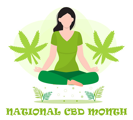 National CBD month concept vector for blog, web, banner. Event is celebrated in January. Medical cannabis illustration. Yoga balance and marijuana, cannabinoids medicinal drug