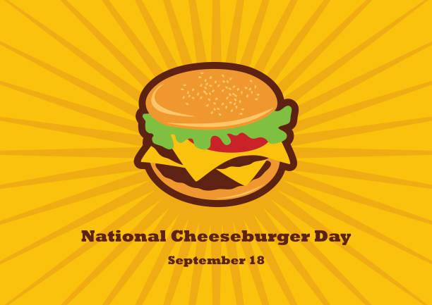 National Cheeseburger Day vector Burger cartoon. Cheeseburger vector. Important day cheeseburger stock illustrations