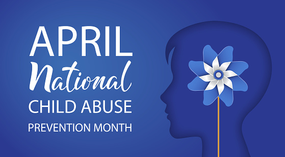 National Child Abuse Prevention Month. April. Boy silhouette with pinwheel on blue background. Stop child violence. Template for banner, card, poster with text inscription. Vector illustration.