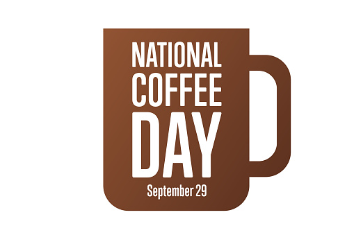 National Coffee Day. September 29. Holiday concept. Template for background, banner, card, poster with text inscription. Vector EPS10 illustration