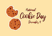 Chocolate Cookies vector. Biscuit vector. Cookie Day Poster, December 4. American food holiday