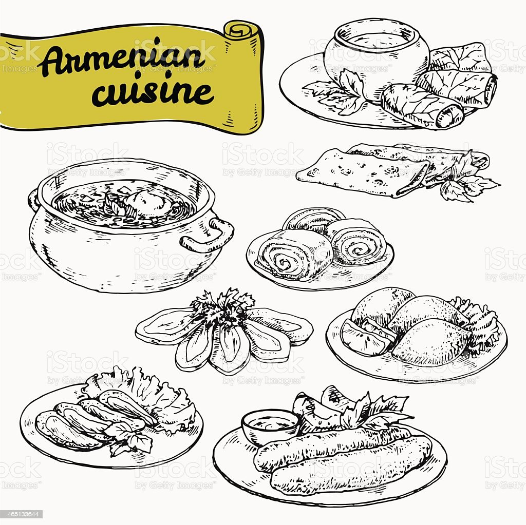 national cuisine of Armenian vector art illustration