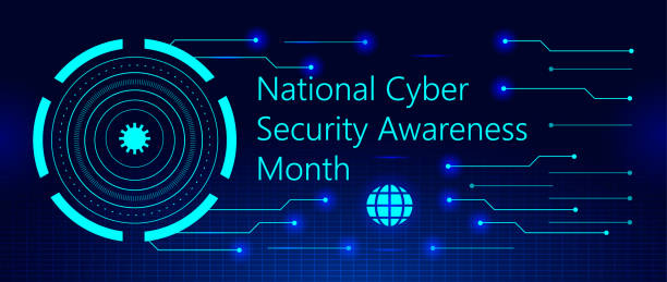 National Cyber Security Awareness Month is observed in October in USA. National Cyber Security Awareness Month is observed in October in USA. Hud elements, global icon, concept vector are shown on ultraviolet background for banner, website. month stock illustrations
