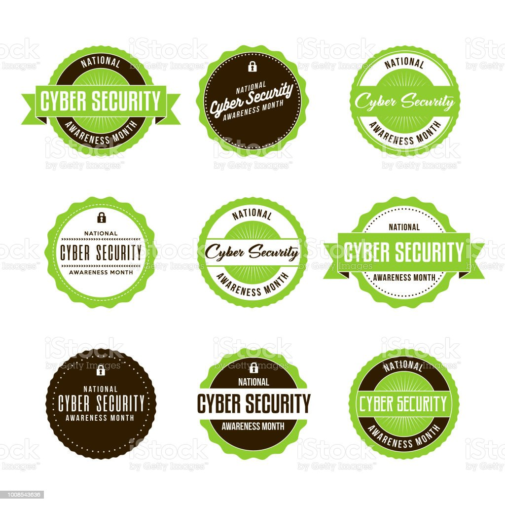 National Cyber Security Awareness Month Labels Icon Set