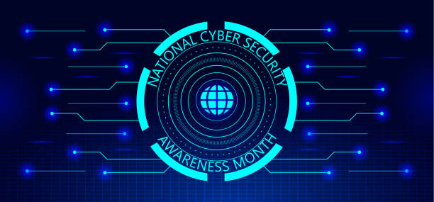 National Cyber Security Awareness Month NCSAM is observed in October in USA. National Cyber Security Awareness Month NCSAM is observed in October in USA. Hud elements, globale icon, concept vector are shown on ultaviolet background for banner, website. month stock illustrations