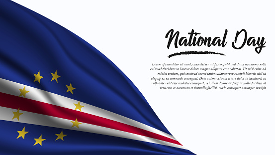 National Day Banner with Cape Verde Flag background