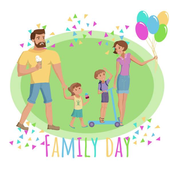 stockillustraties, clipart, cartoons en iconen met nationale dag van gezinnen vectorillustratie - mini amusementpark