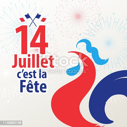 Celebrating Bastille Day, the national day of France, on 14th July with French rooster and flag on the firework background