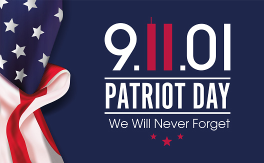 National Day of Prayer and Remembrance for the Victims of the Terrorist Attacks on 09.11.2001. Vector banner design template with realistic american flag and text on dark blue background for Patriot Day.