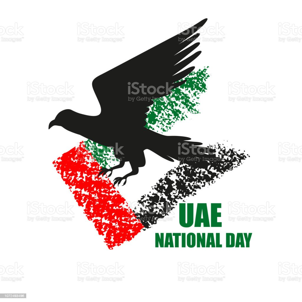 Uae National Day Poster With Falcon Silhouette And Flag Stock