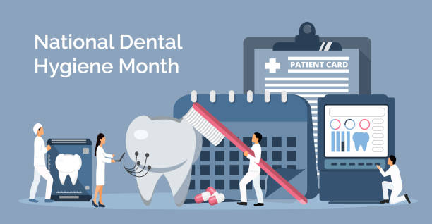 bildbanksillustrationer, clip art samt tecknat material och ikoner med nationell tandhygien månad firas i oktober. tiny tandläkare gör röntgen skanning av tänder för att hjälpa tandvärk - molar