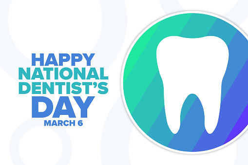 National Dentist's Day. March 6. Holiday concept. Template for background, banner, card, poster with text inscription. Vector EPS10 illustration.