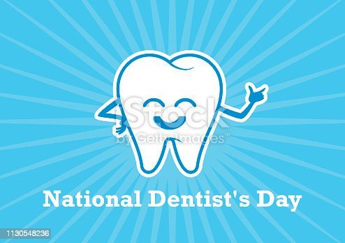 White tooth cartoon. Healthy tooth vector icon. Smiling tooth vector illustration. March 6, National Dentist's Day. Important day