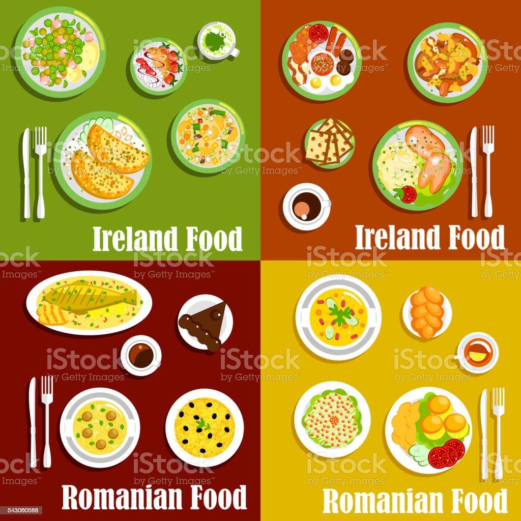 Rumänische Küche | Nationale Gerichte An Irischen Und Rumanische Kuche Stock Vektor Art