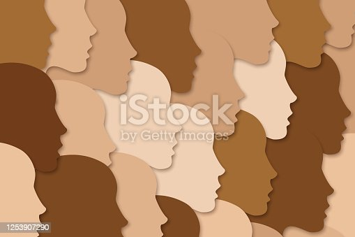 National diverse or race diverse concept. Female face silhouettes with variety of skin tones. People crowd, group. Female faces looking in one direction. Women's right concept. Vector illustration