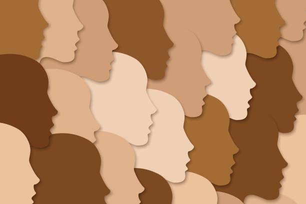 bildbanksillustrationer, clip art samt tecknat material och ikoner med nationellt mångsidigt eller rasskiftande koncept. människor folkmassan - brun beskrivande färg