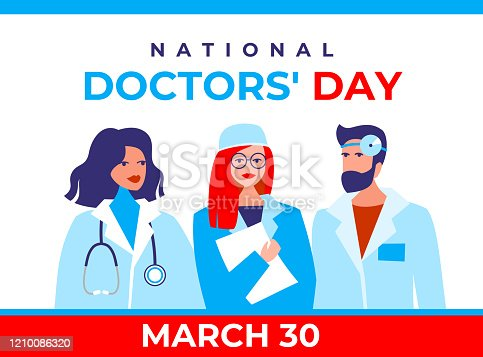 National doctor's day vector banner. International holiday, congratulations. The character is two female therapists, a doctor's surgeon, and a bearded male otolaryngologist in a flat style