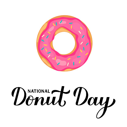 National Donut Day calligraphy lettering and doughnut isolated on white . Vector template for typography poster, banner, flyer, sticker, t-shirt, postcard, emblem design, etc.