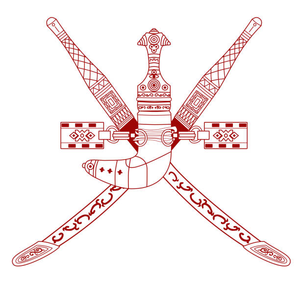 national emblem of oman (coat of arms)  khanjar dagger and two crossed swords. - oman stock illustrations