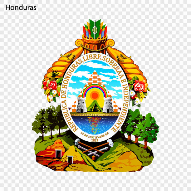 National emblem or symbol Symbol of Honduras. National emblem honduras stock illustrations