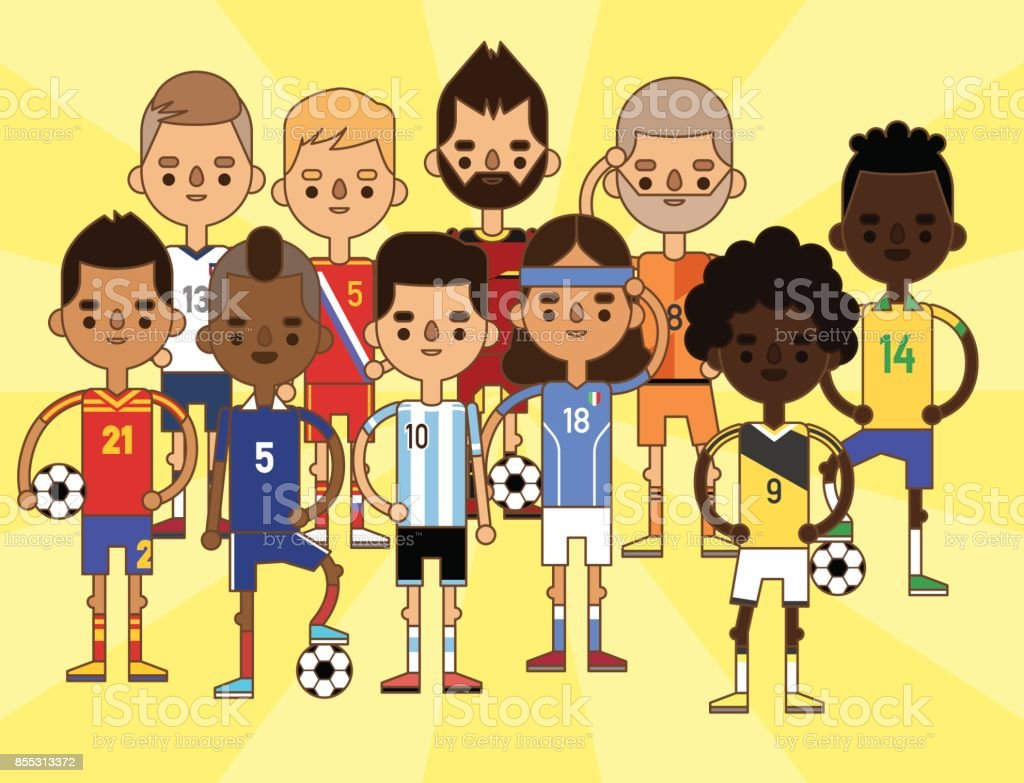 National Euro Cup soccer football teams vector illustration and world game player captain leader in uniform sport men isolated characters vector art illustration