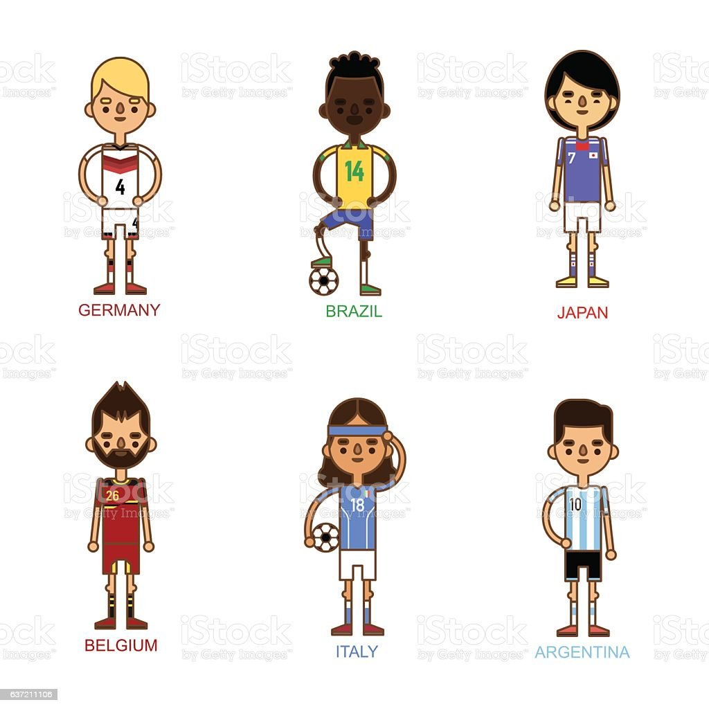 National Euro Cup soccer football teams vector illustration - ilustración de arte vectorial