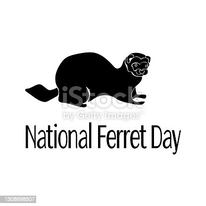 National Ferret Day, pet silhouette, idea for a postcard or poster