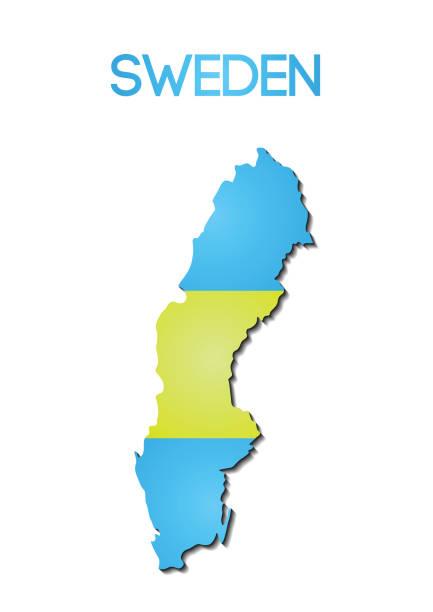 Nationalflagge Farbe des Schweden im Farbverlauf Kartenentwurf – Vektorgrafik