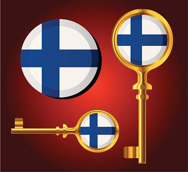 の国旗 key アイコン-フィンランド - フィンランドの国旗点のイラスト素材/クリップアート素材/マンガ素材/アイコン素材