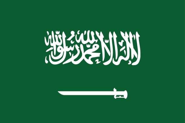 National flag Kingdom of Saudi Arabia. National flag of Kingdom of Saudi Arabia. Official national patriotic symbol of arabian country - shahada and sword on green background. Symbol of Western Asia state. Vector icon illustration name of person stock illustrations