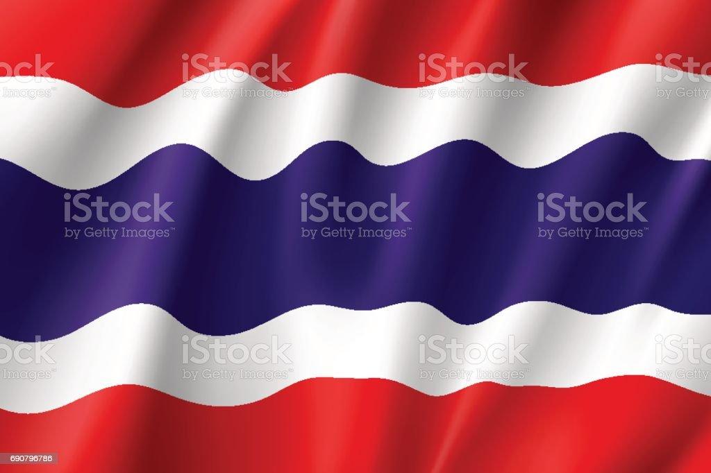 タイ王国の国旗。 ベクターアートイラスト