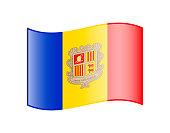 Waving flag of Andorra isolated on white background
