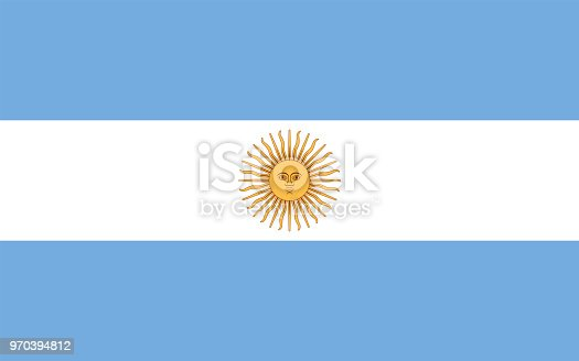 National flag of Argentina with Sun of May. Triband of three horizontal bands in light blue and white. Sol de Mayo, a national emblem of Argentina on the country flag. Illustration over white. Vector.