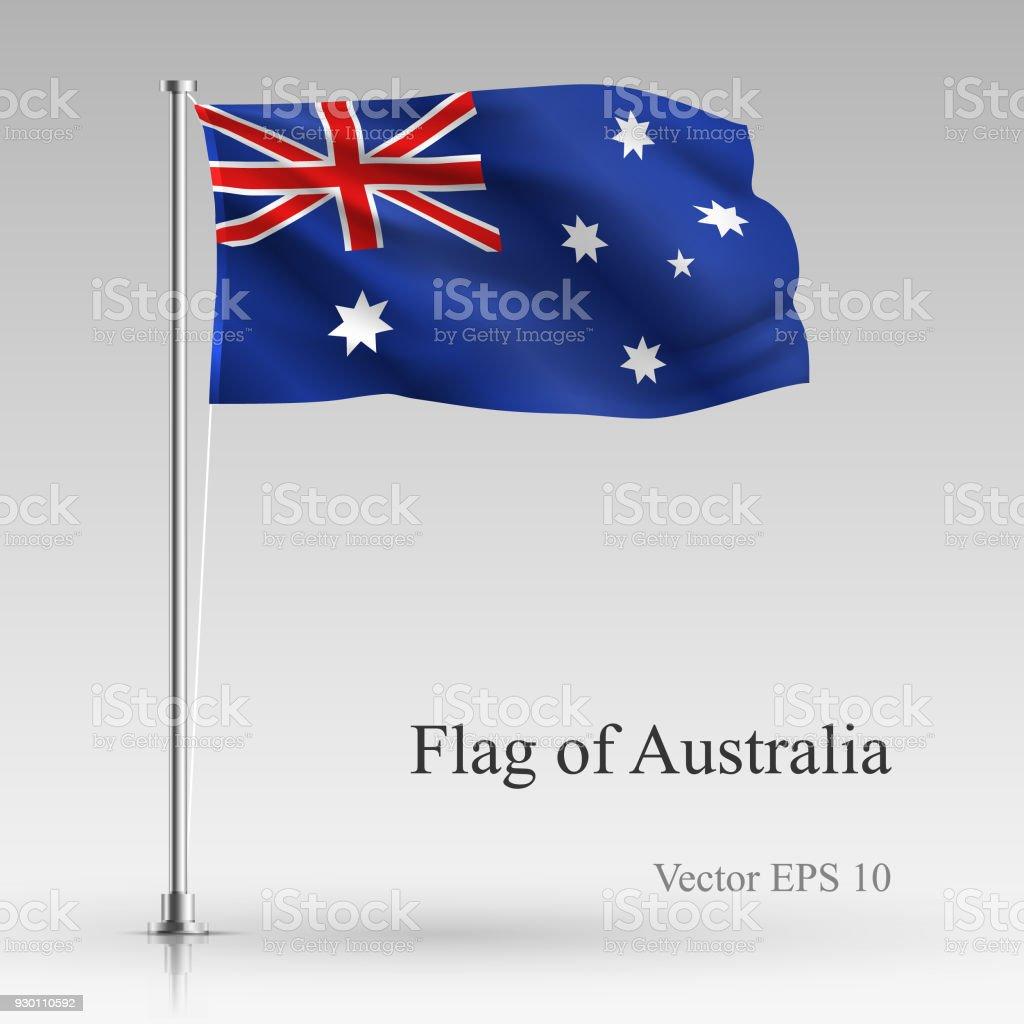 灰色の背景に分離されたオーストラリアの国旗。現実的なオーストラリアの旗風になびかせて。波状フラグ株式ベクトル図 ベクターアートイラスト
