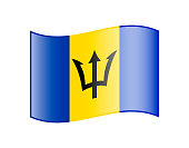 Waving flag of Barbados isolated on white background