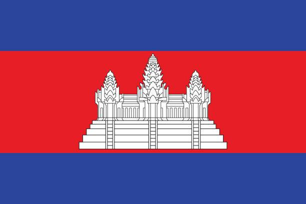 stockillustraties, clipart, cartoons en iconen met nationale vlag van cambodja - cambodja