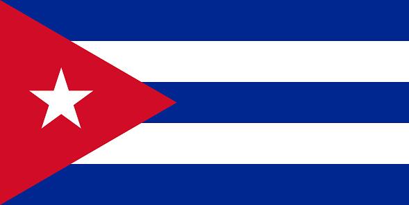 National flag of Cuba original size and colors vector illustration, Bandera de Cuba or Estrella Solitaria and Lone Star flag, Republic of Cuba flag
