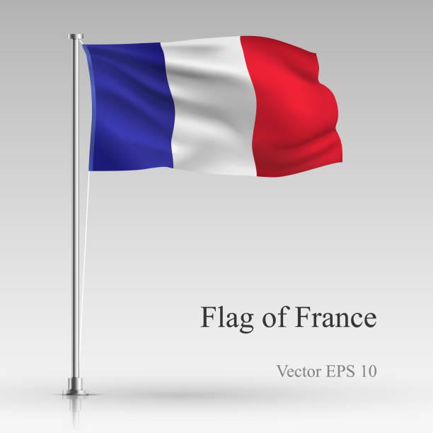 ilustraciones, imágenes clip art, dibujos animados e iconos de stock de bandera nacional de francia aislada sobre fondo gris. realista bandera francesa ondeando en el viento. ondulado bandera ilustración vectorial de stock - bandera francesa
